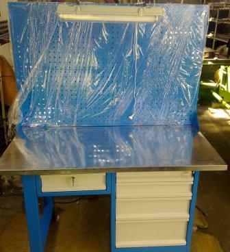stół warsztatowy 1500x750x900 z nadbudową i oświet