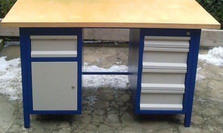 stół warsztatowy 1500x750x850 2 szafki 5 szuflad