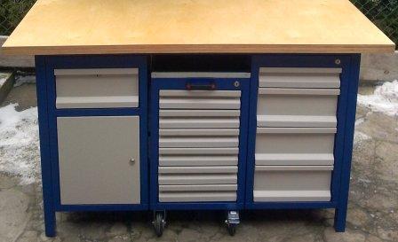 stół warsztatowy1500x750x850 3szafki 11 szuflad
